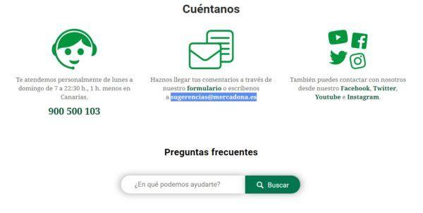 Numero gratuito atencion cliente mercadona vias de contacto