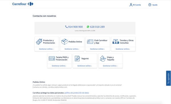 El número de atención al cliente gratuito de Carrefour Web
