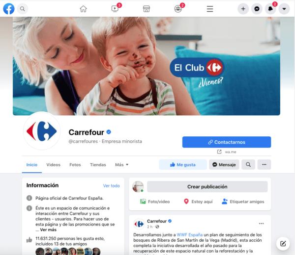 El número de atención al cliente gratuito de Carrefour Facebook