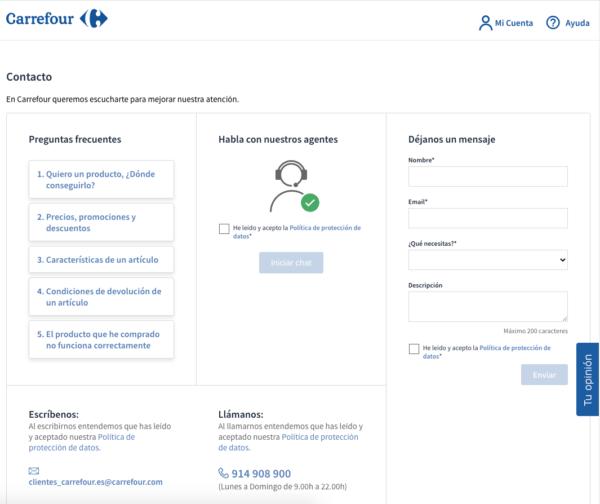 El número de atención al cliente gratuito de Carrefour online