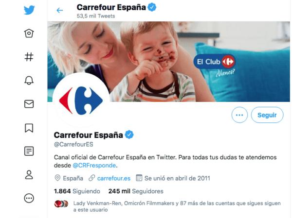 El número de atención al cliente gratuito de Carrefour Twitter