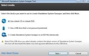 Antivirus gratis Microsoft Standalone System Sweeper