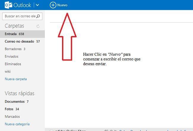 como-enviar-un-correo-desde-hotmail-Seleccionamos-hacemos-clic-en-NUEVO
