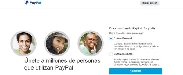 seleccionar cuenta paypal