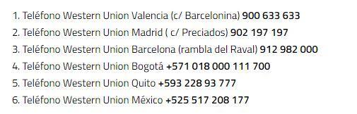 Tel fono gratuito de western union for Oficinas western union barcelona