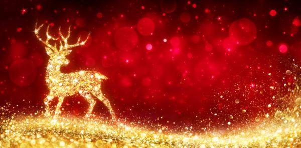Tarjetas de navidad reno dorado